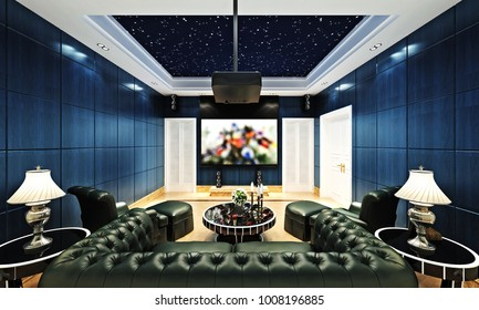 3d render of home theatre room
