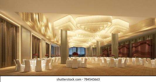 3d render hotel conference room