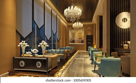 3d render of hotel lobby and bar