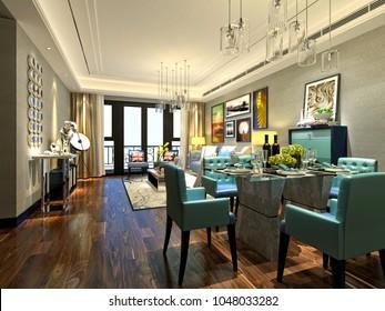 3d render of house interior living room