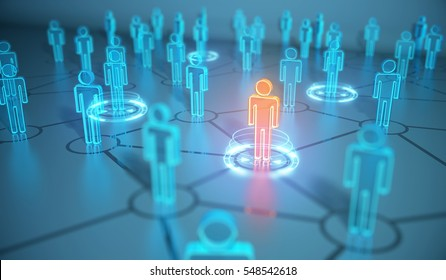 3d render human social network and leadership as concept.