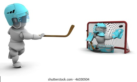 3D render of ice hockey players