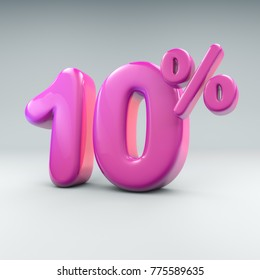 3D render of an iflated pink 10 percent graphic