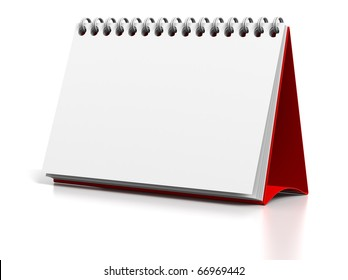 3D render illustration of Blank desktop calendar