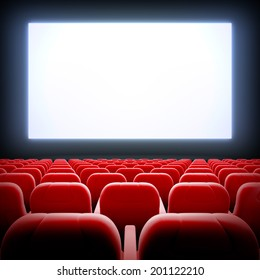 3d render illustration blank template of empty cinema hall with white wide display and red velvet chairs.