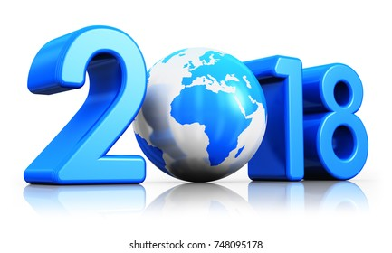 3D render illustration of  creative abstract New Year 2018 beginning celebration concept with blue glossy Earth globe isolated on white background with reflection effect
