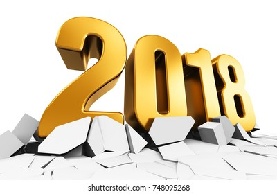 3D render illustration of creative abstract New Year 2018 beginning celebration concept on cracked surface isolated on white background