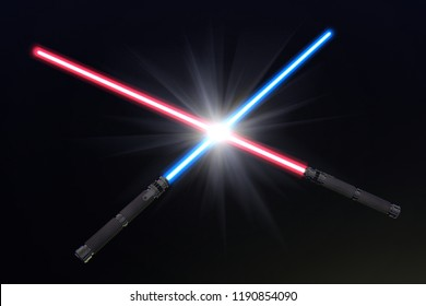 3D render illustration of crossed light sabers
