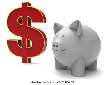 3D render illustration - dollar savings concept