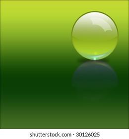 3D render illustration of a glass sphere over green