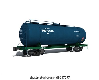 3d render illustration isolated on white: Perspective view of the modern blue tank car with text labels (Russian)