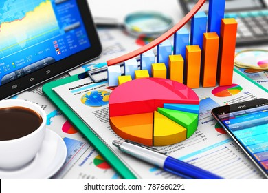 3D render illustration of the macro view of modern tablet computer PC and black glossy touchscreen smartphone or mobile phone with stock market application software, growth bar chart and pie diagram