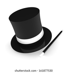 3D render illustration of a magician hat with wand on white background.
