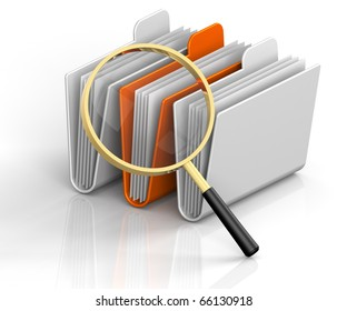 3D render illustration of magnifying glass focusing on archive folders