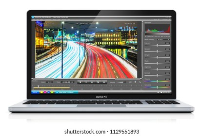 3D render illustration of modern laptop or notebook computer PC with professional video footage editing production software program app on the screen display or monitor isolated on white background