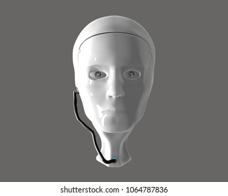 3D render / illustration of a robot head from the front