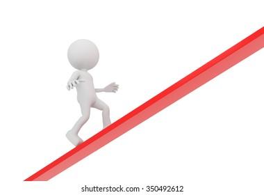 3D render illustration - white human walks upwards on red line
