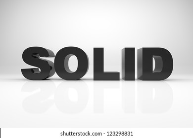 3d render illustration of the word SOLID made of solid rock.