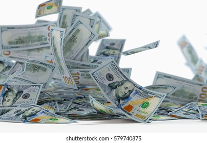 3D render, illustration,Heap of Dollar Bills isolated on white background,close up,depth of field