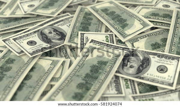 3D render, illustration,Heap of Dollar Bills background,close up,depth of field