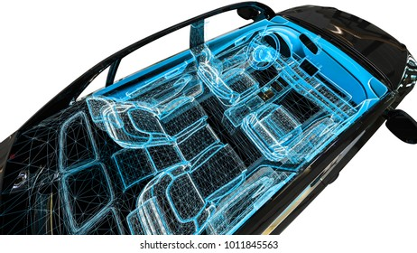 3D render image of an car in wire frame representing a car interior development process