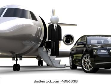 3D render image representing an businessmen with a luxury transport fleet / Luxury transport fleet
