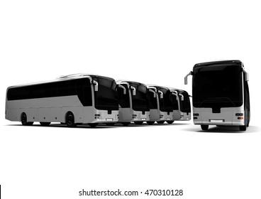 3D render image representing a buss fleet / Buss fleet