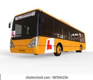 3D render image representing Driving school concept for buss / Driving school Buss