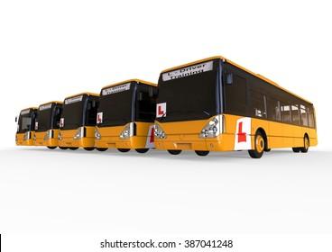 3D render image representing Driving school concept for buss / Driving school Buss fleet