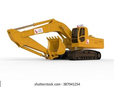3D render image representing Excavators driving school concept / Digger Driving school concept