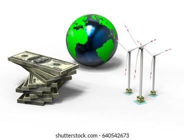 3D render image representing renewable energy / Electric future