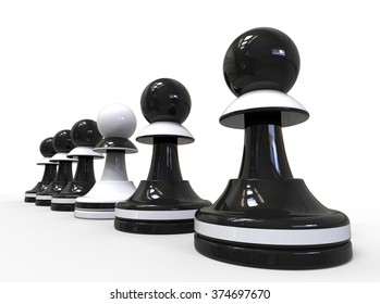 3D render image representing a row of pawns / Be different concept