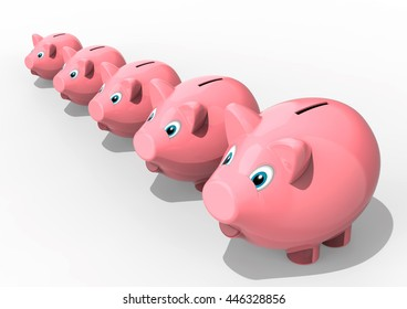 3D render image representing a row of piggy banks / A row of piggy banks