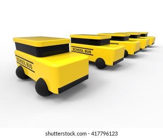 3D render image representing school bus vehicles / School Bus vehicles concept
