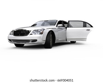 3D render image representing an white high CLASS LIMOUSINE / WHITE HIGH CLASS LIMOUSINE