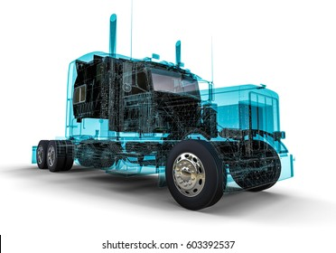 3D render image representing an wire frame american truck / Wire frame technology