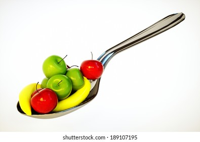 3d render image of spoon with fruit