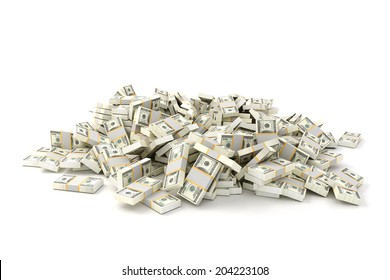 3d render image of stack of money on white background