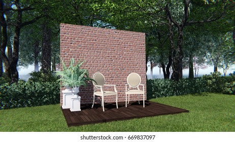 3d render from  imagine backdrop vintage style in the garden with red brick left view