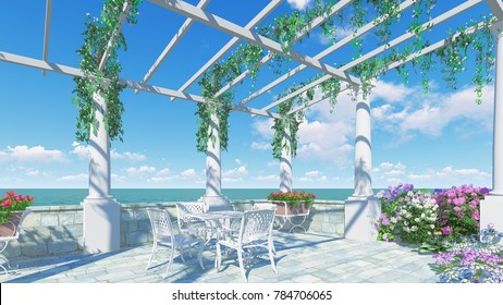 3D RENDER FROM IMAGINE romantic balcony in roman style Italy relax dinner  left view