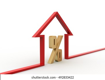3d render of Interest rate of home loan concept