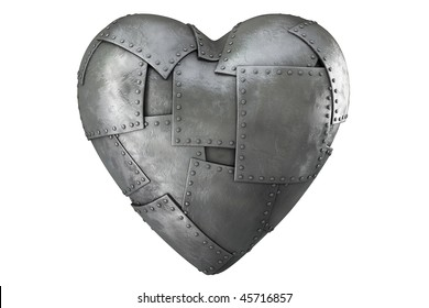3d render of iron-clad heart