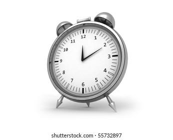 3d render of an isolated chrome alarm clock