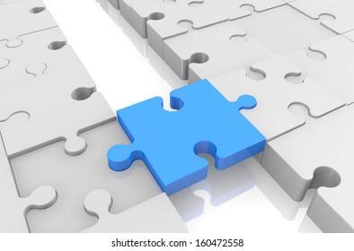 3d render of a jigsaw puzzle bridge