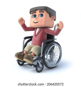 3d render of a kid in a wheelchair raising his arms in the air