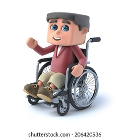 3d render of a kid in a wheelchair waving hello