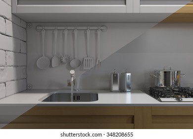 3D render of kitchen with accessories. Visualization without shaders and textures