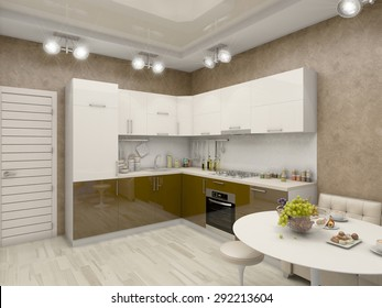 3d render of a kitchen in beige tones with brown acence