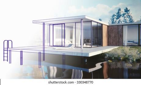 3D render of a lake side summer residence - draft