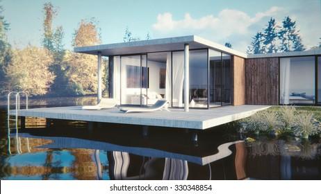 3D render of a lake side summer residence